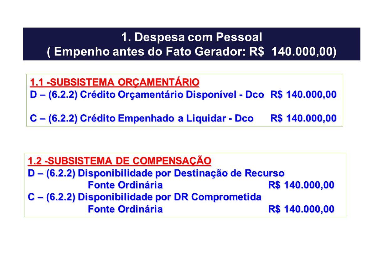 ( Empenho antes do Fato Gerador: R$ 140.000,00)