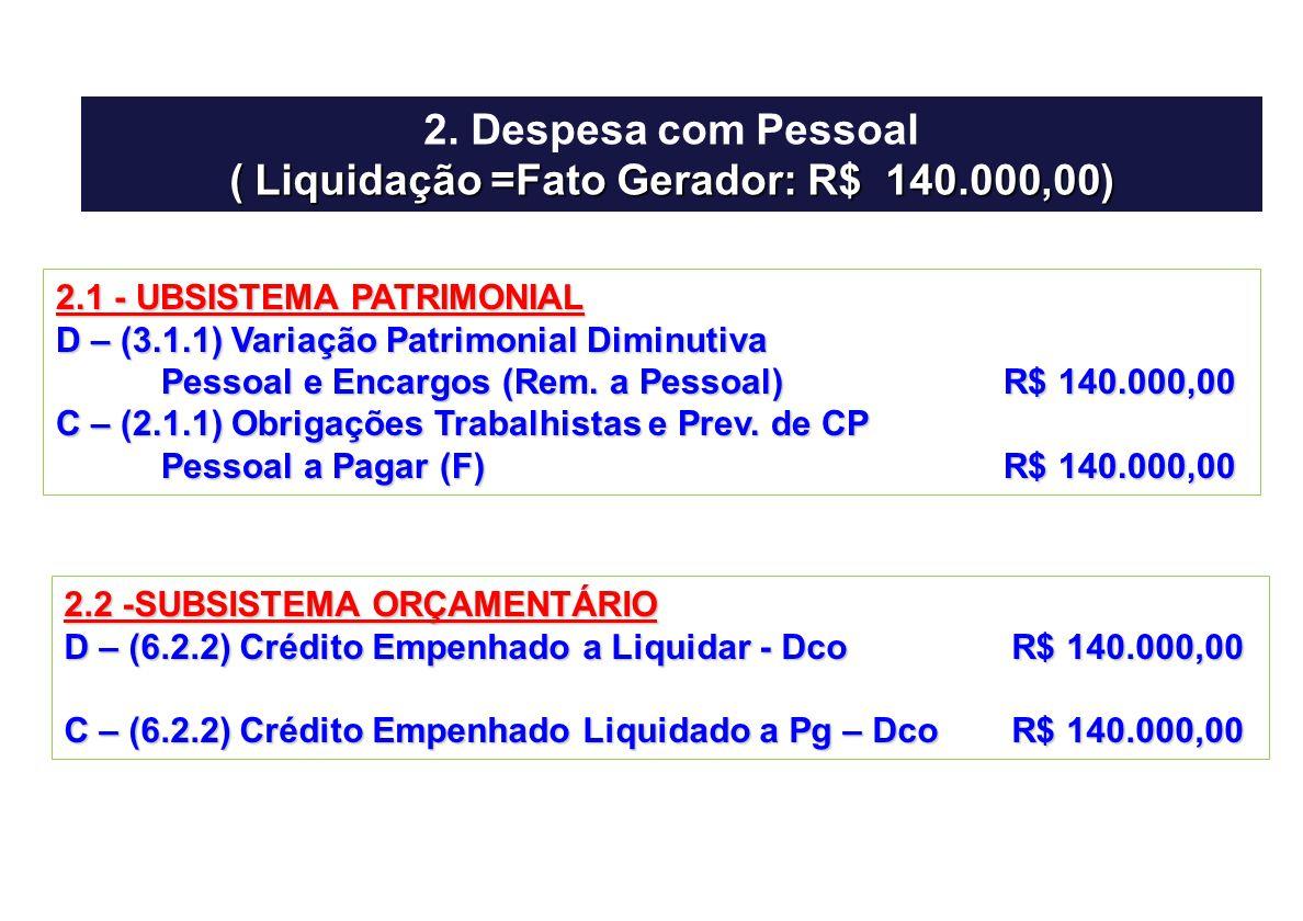 ( Liquidação =Fato Gerador: R$ 140.000,00)