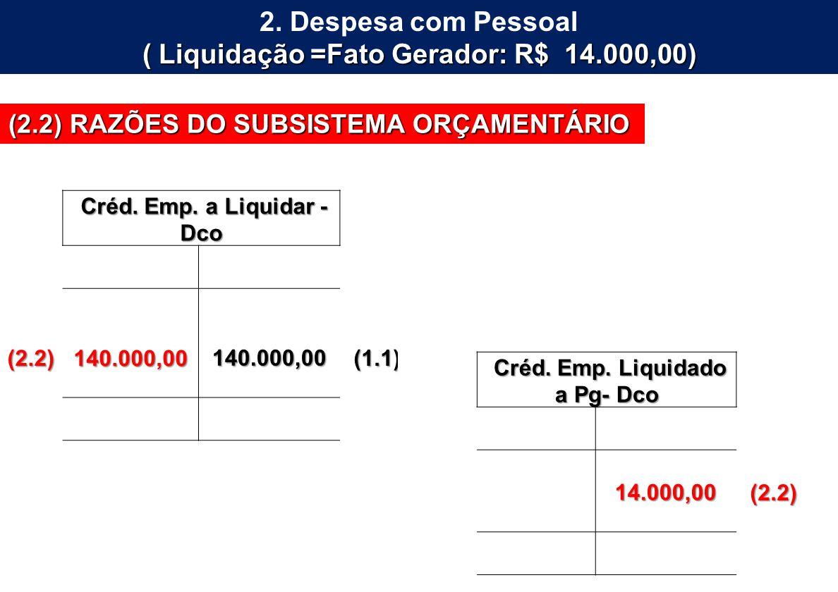 2. Despesa com Pessoal ( Liquidação =Fato Gerador: R$ 14.000,00)