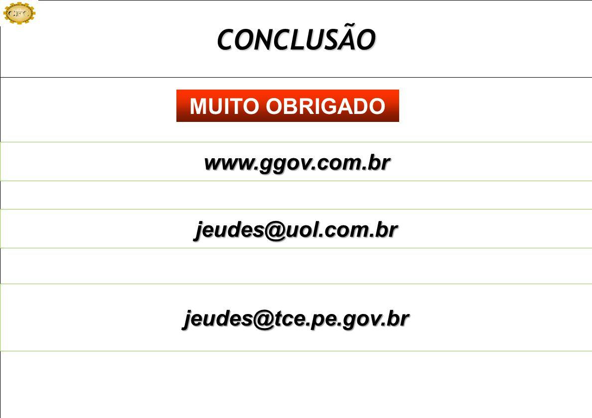 CONCLUSÃO MUITO OBRIGADO www.ggov.com.br jeudes@uol.com.br