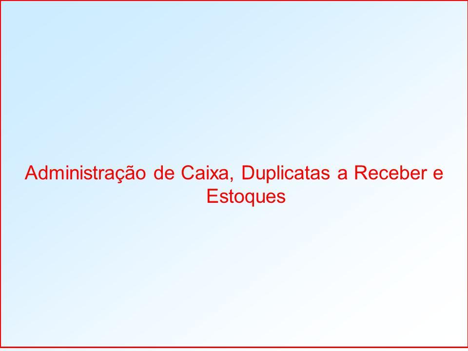Administração de Caixa, Duplicatas a Receber e Estoques