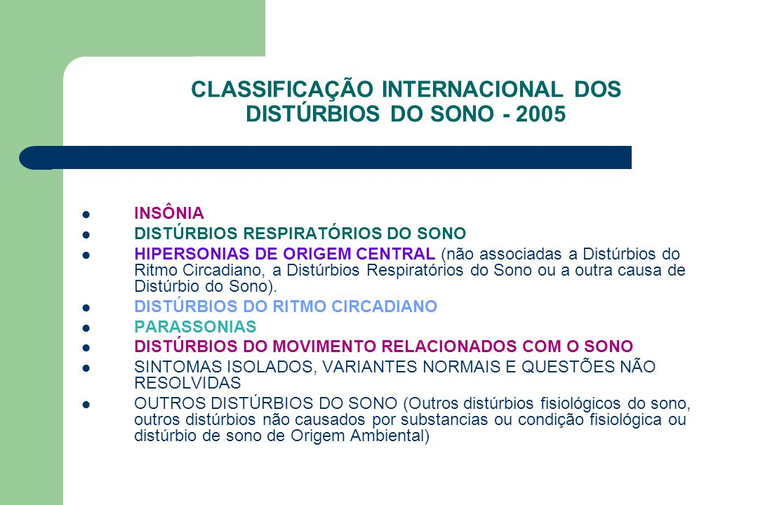 CLASSIFICAÇÃO INTERNACIONAL DOS DISTÚRBIOS DO SONO - 2005