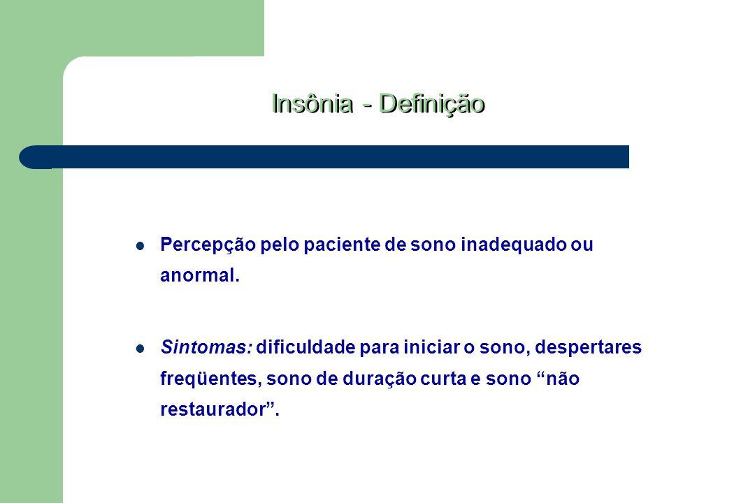 Insônia - Definição Percepção pelo paciente de sono inadequado ou anormal.