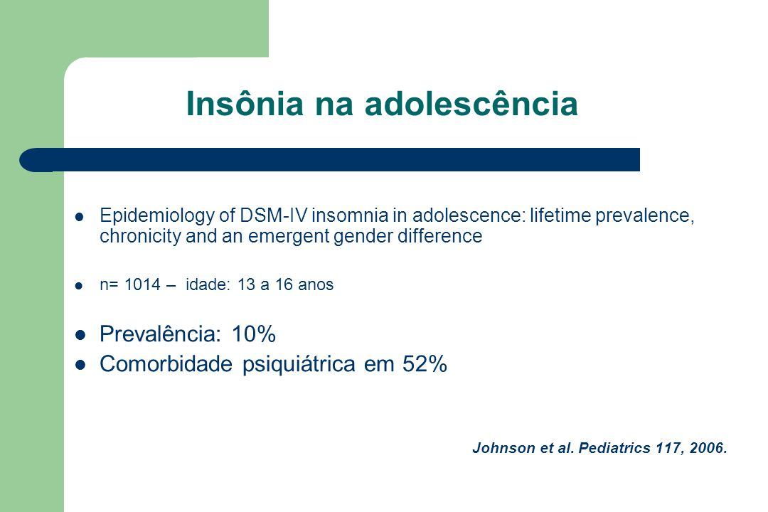 Insônia na adolescência