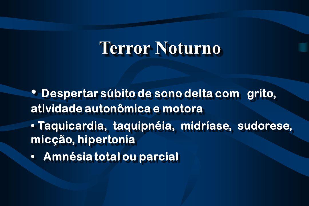 Terror Noturno Despertar súbito de sono delta com grito, atividade autonômica e motora.