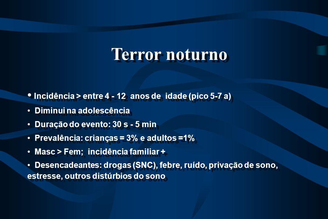Terror noturno Incidência > entre 4 - 12 anos de idade (pico 5-7 a)