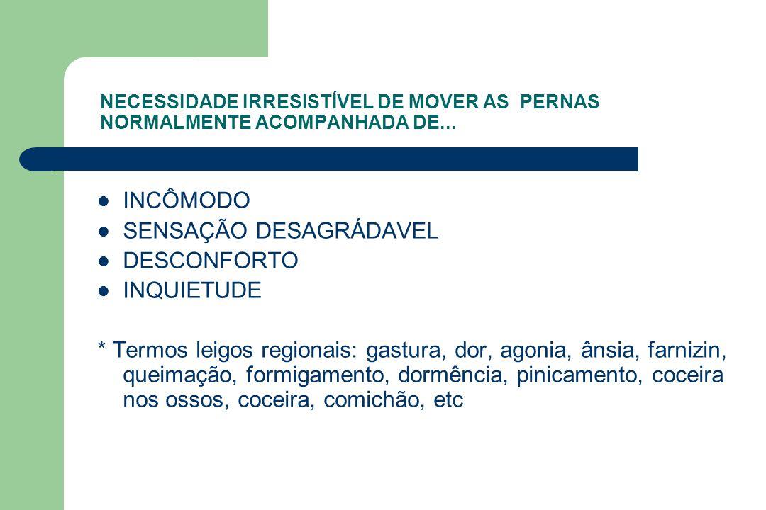 SENSAÇÃO DESAGRÁDAVEL DESCONFORTO INQUIETUDE