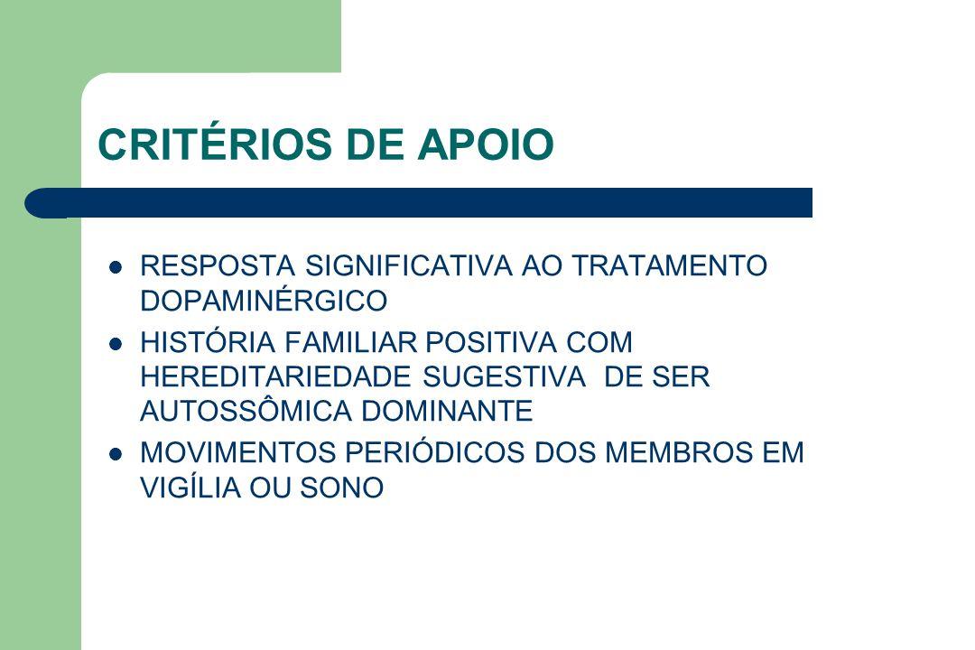 CRITÉRIOS DE APOIO RESPOSTA SIGNIFICATIVA AO TRATAMENTO DOPAMINÉRGICO
