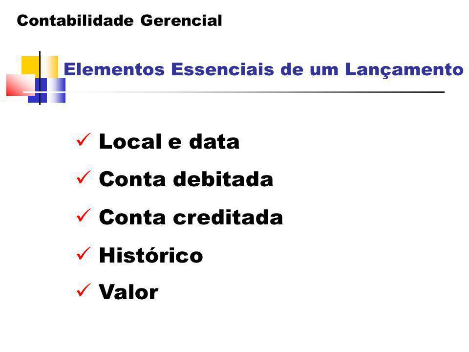 Local e data Conta debitada Conta creditada Histórico Valor