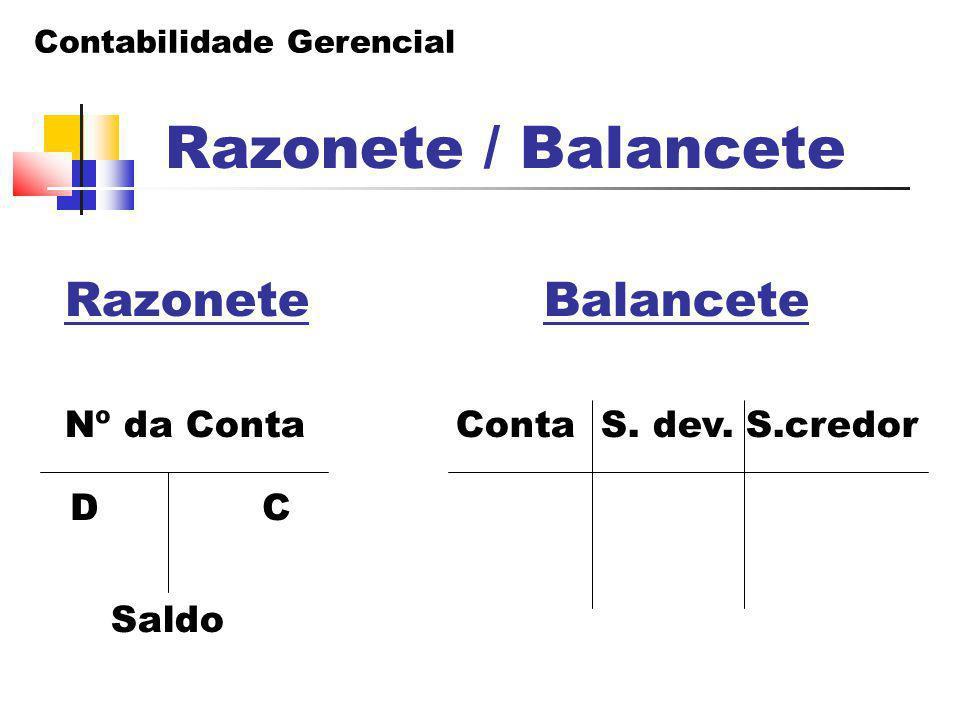 Razonete / Balancete Nº da Conta Conta S. dev. S.credor D C Saldo