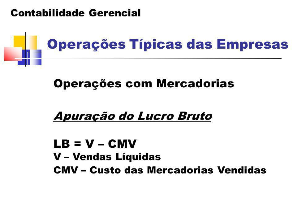 Operações com Mercadorias Apuração do Lucro Bruto LB = V – CMV