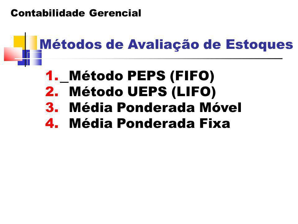Método PEPS (FIFO) Método UEPS (LIFO) Média Ponderada Móvel