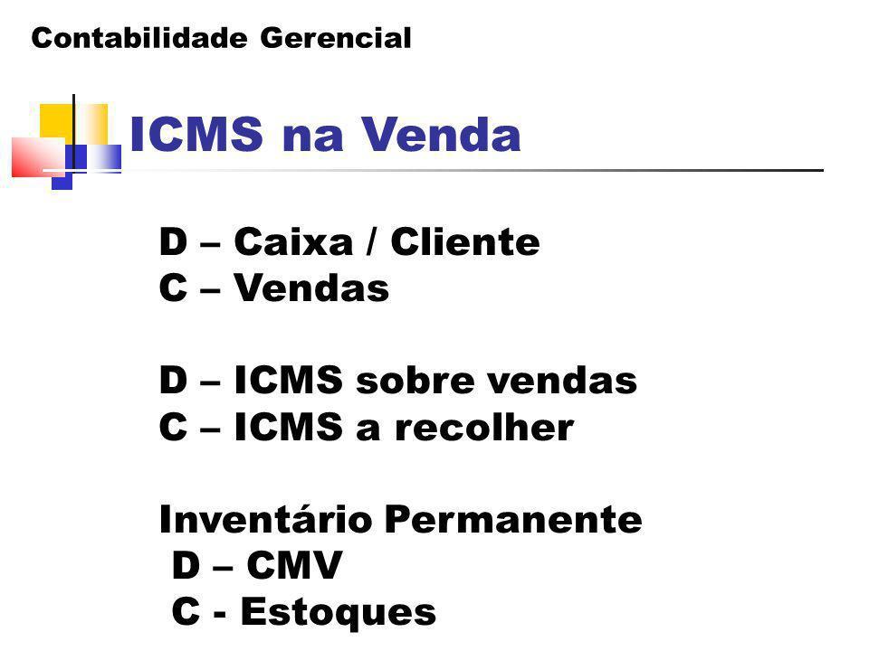 ICMS na Venda D – Caixa / Cliente C – Vendas D – ICMS sobre vendas