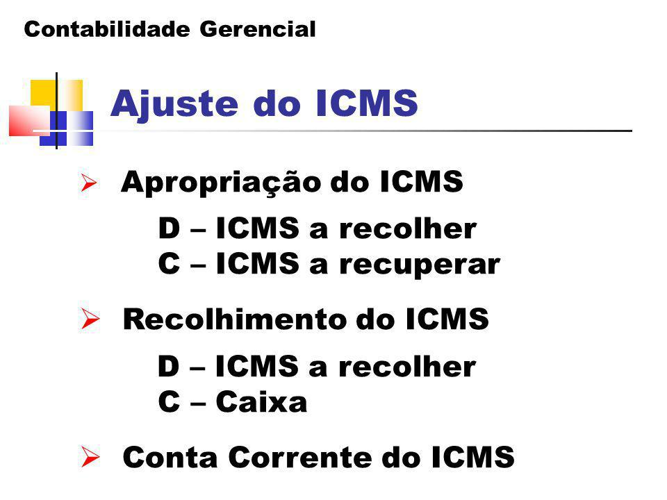Ajuste do ICMS D – ICMS a recolher C – ICMS a recuperar