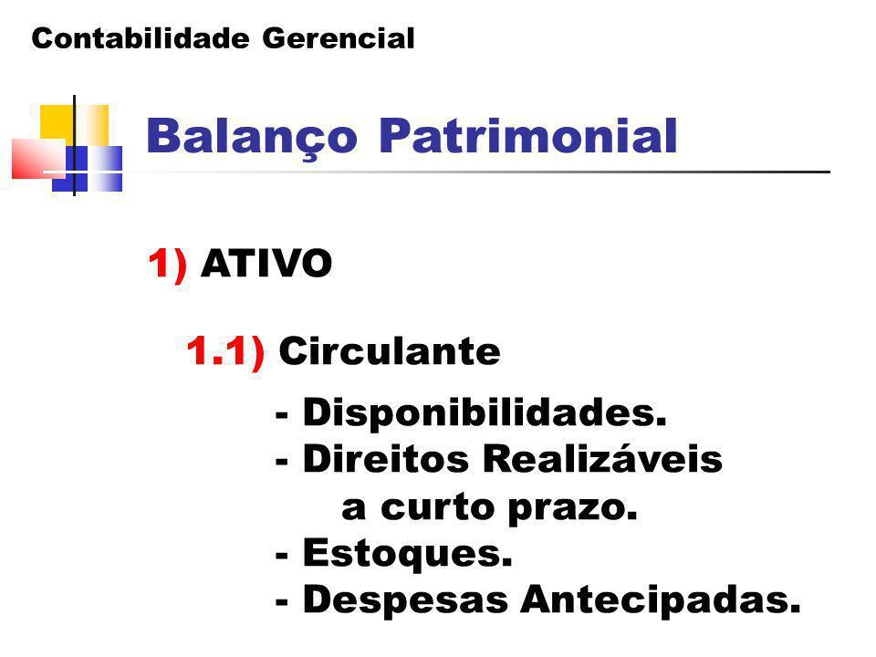 Balanço Patrimonial 1) ATIVO 1.1) Circulante - Disponibilidades.