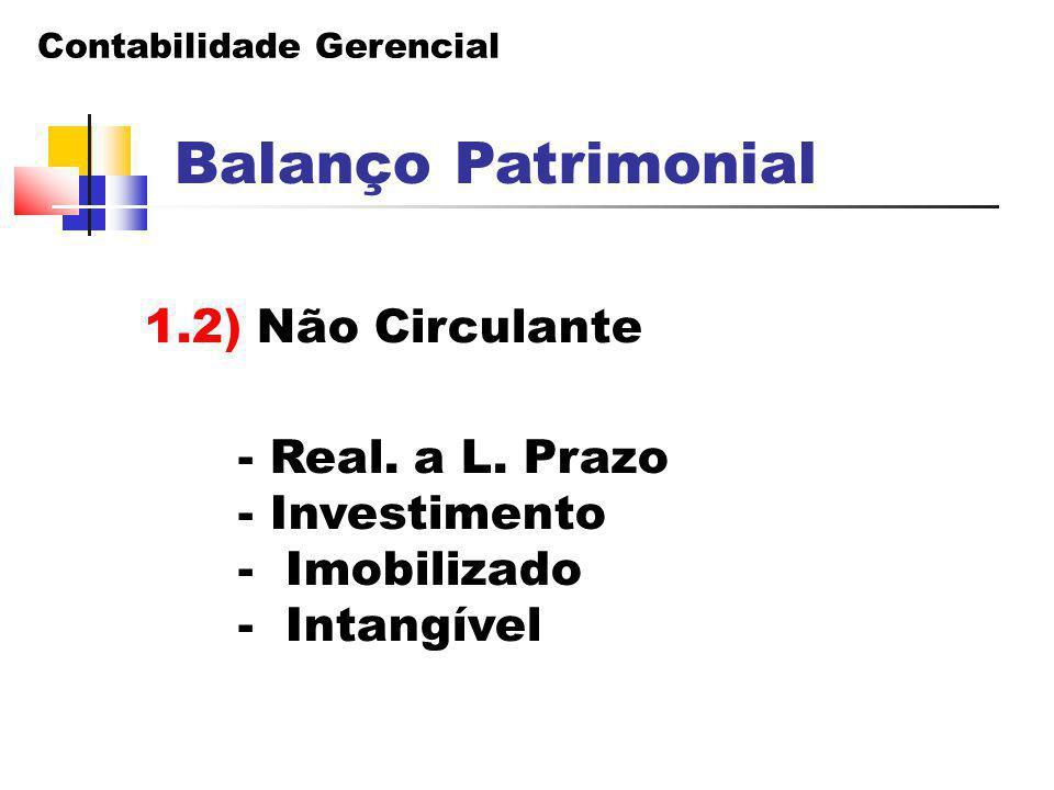 Balanço Patrimonial 1.2) Não Circulante - Real. a L. Prazo