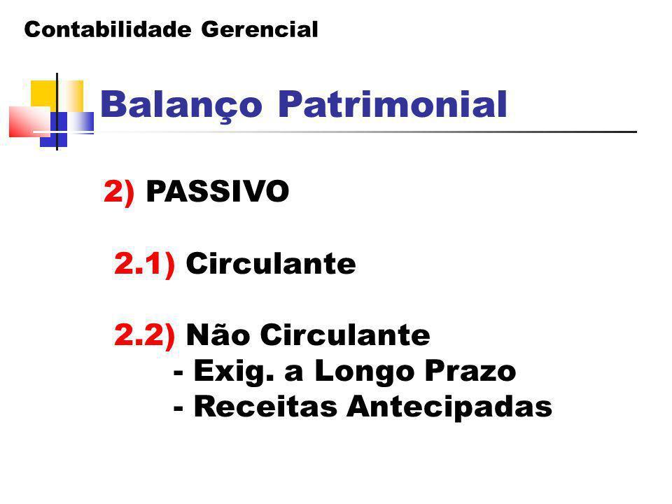 Balanço Patrimonial 2) PASSIVO 2.1) Circulante 2.2) Não Circulante