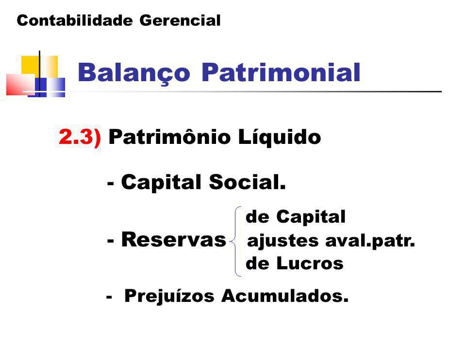 Balanço Patrimonial 2.3) Patrimônio Líquido - Capital Social.