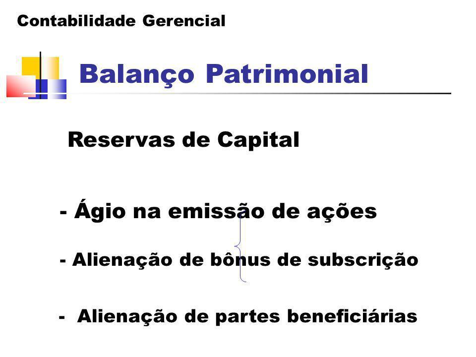 Balanço Patrimonial Reservas de Capital - Ágio na emissão de ações