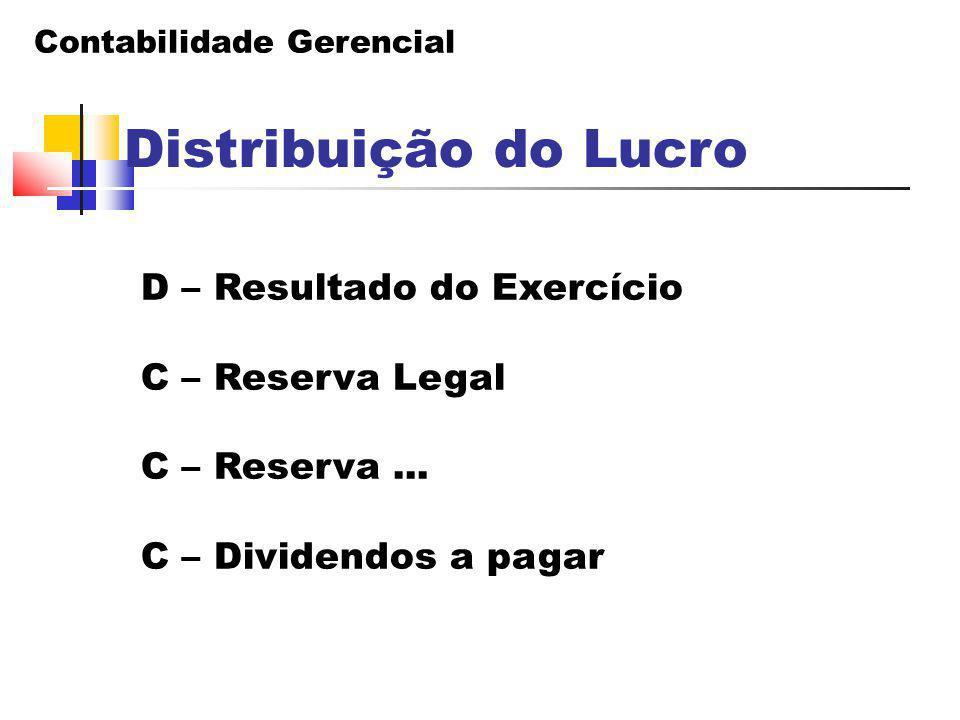 Distribuição do Lucro D – Resultado do Exercício C – Reserva Legal