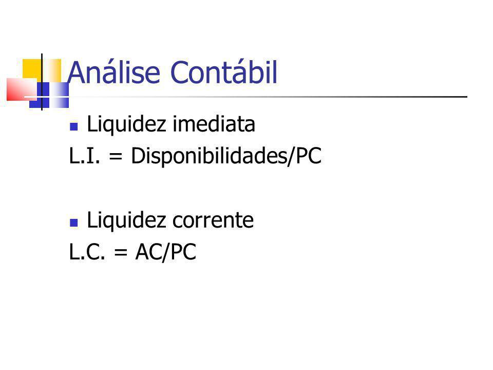 Análise Contábil Liquidez imediata L.I. = Disponibilidades/PC