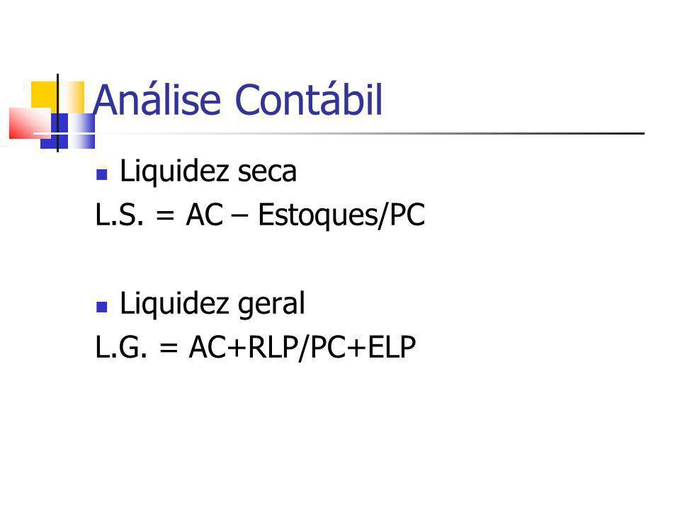 Análise Contábil Liquidez seca L.S. = AC – Estoques/PC Liquidez geral