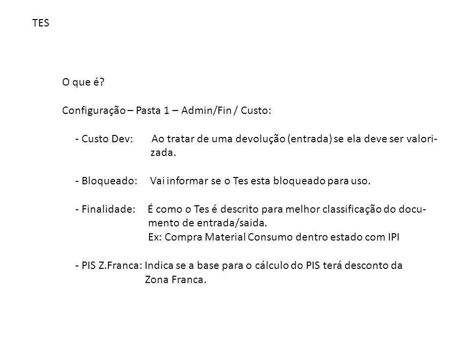 TES O que é Configuração – Pasta 1 – Admin/Fin / Custo: - Custo Dev: Ao tratar de uma devolução (entrada) se ela deve ser valori-