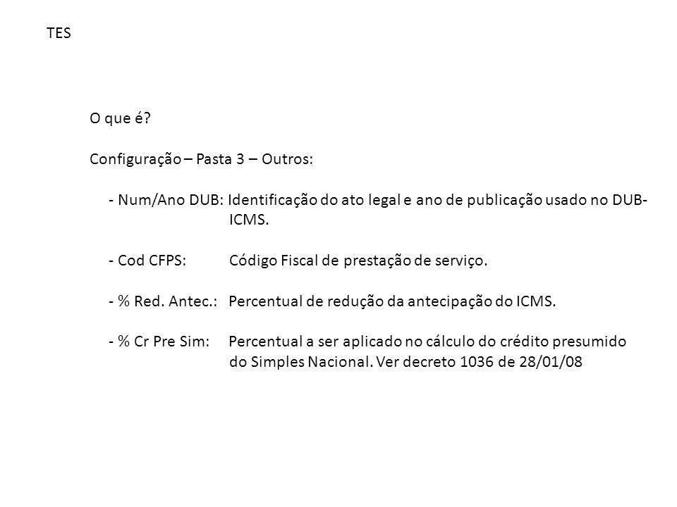 TES O que é Configuração – Pasta 3 – Outros: - Num/Ano DUB: Identificação do ato legal e ano de publicação usado no DUB-