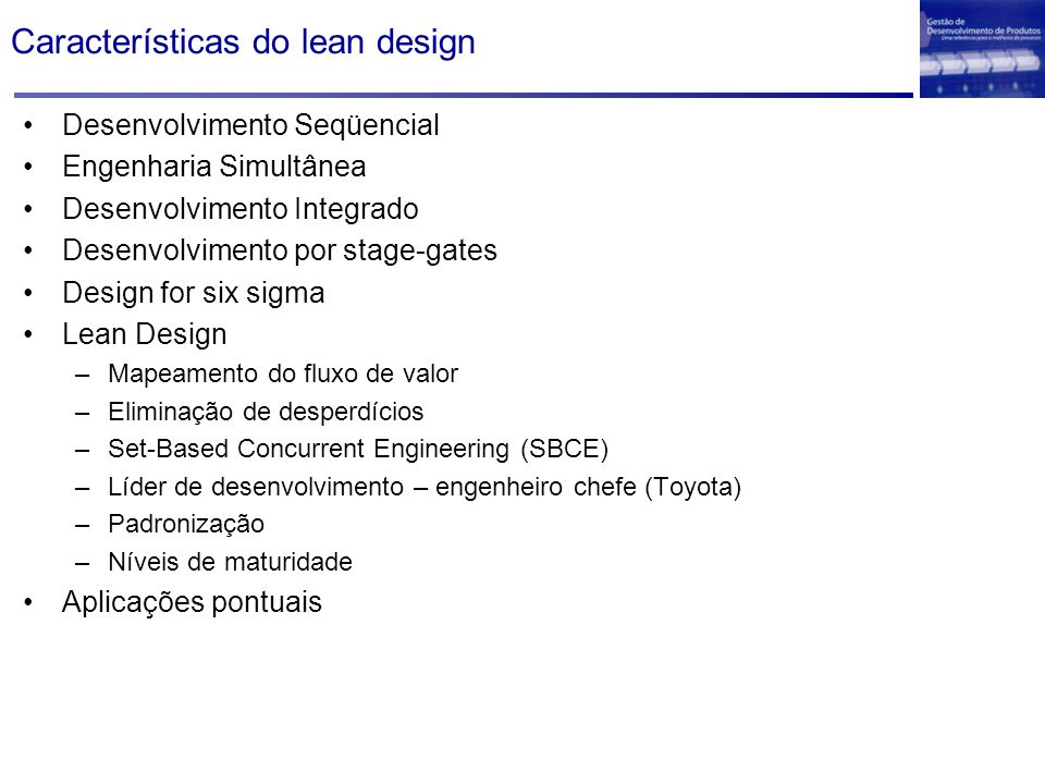 Características do lean design