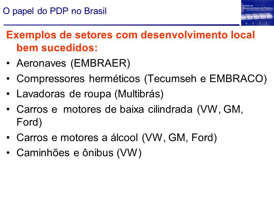 Exemplos de setores com desenvolvimento local bem sucedidos: