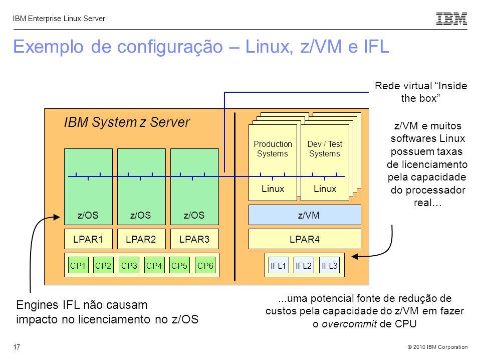 Exemplo de configuração – Linux, z/VM e IFL
