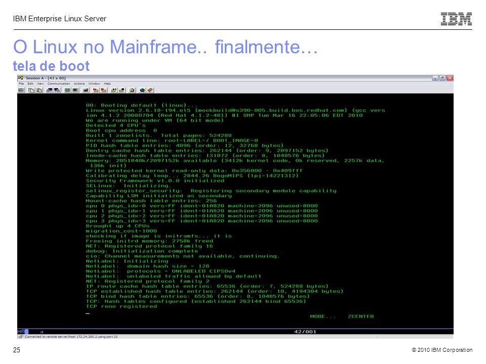 O Linux no Mainframe.. finalmente… tela de boot