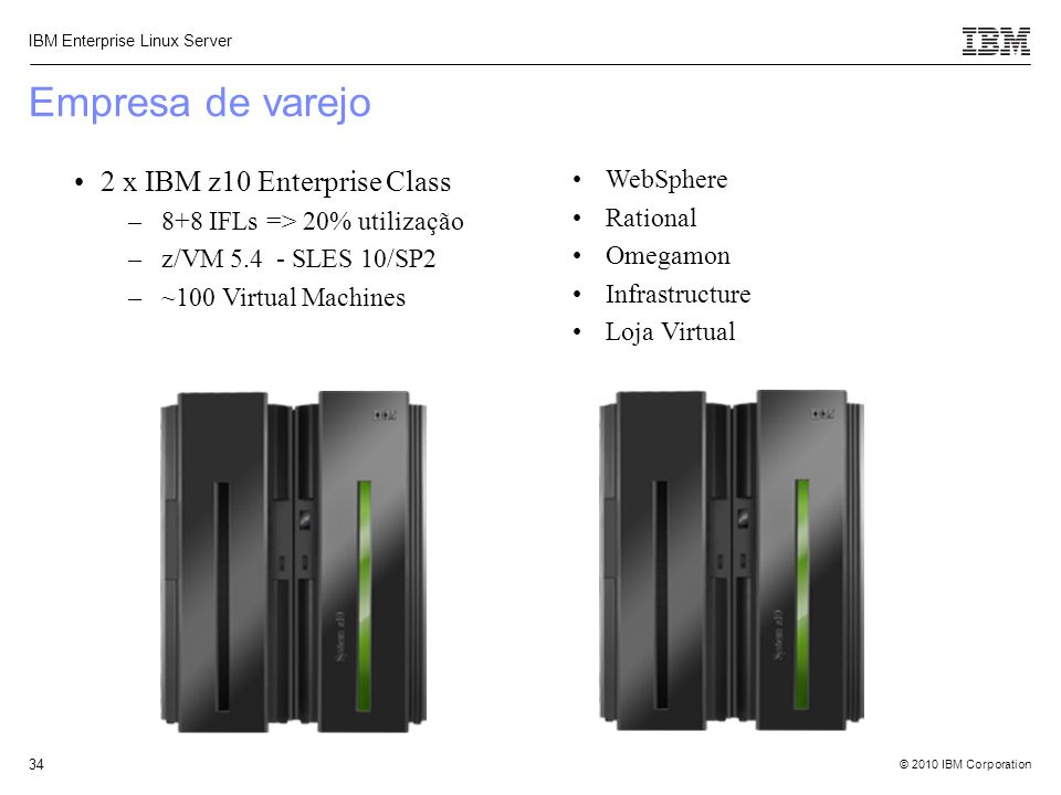 Empresa de varejo 2 x IBM z10 Enterprise Class WebSphere