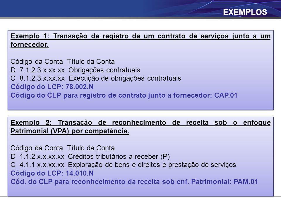 EXEMPLOS Exemplo 1: Transação de registro de um contrato de serviços junto a um fornecedor. Código da Conta Título da Conta.