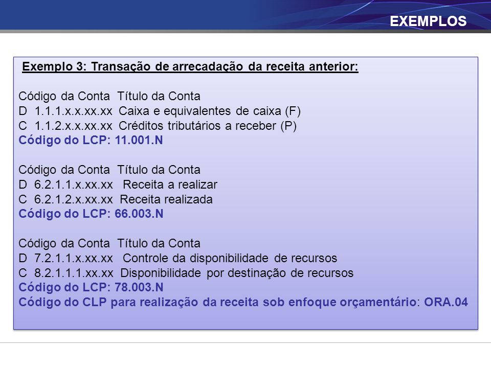 EXEMPLOS Exemplo 3: Transação de arrecadação da receita anterior: