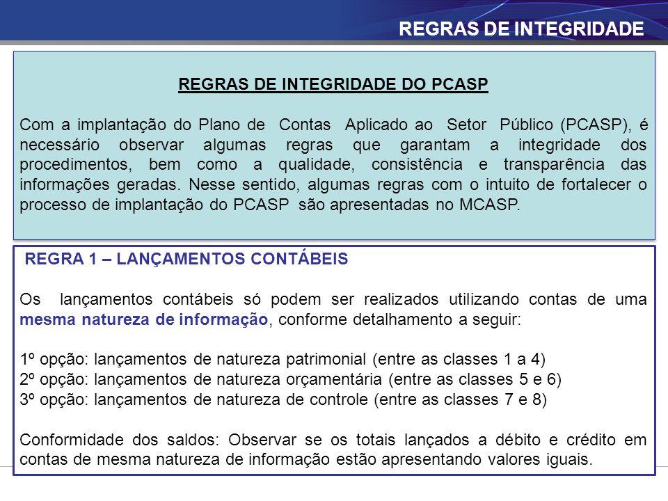 REGRAS DE INTEGRIDADE DO PCASP