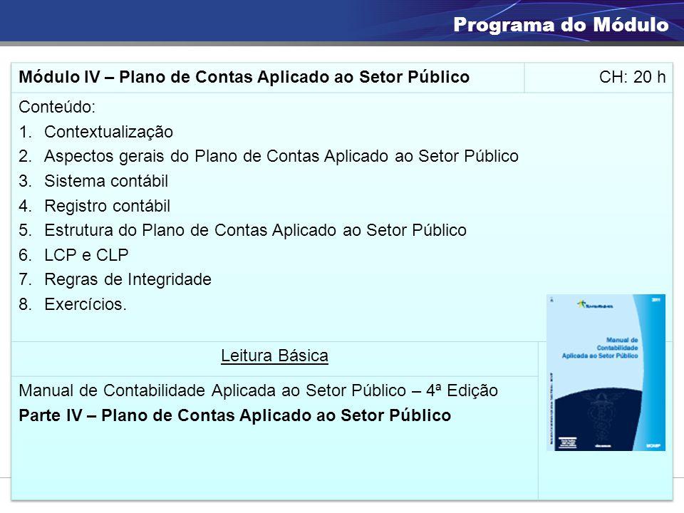 Programa do Módulo Módulo IV – Plano de Contas Aplicado ao Setor Público. CH: 20 h. Conteúdo: Contextualização.