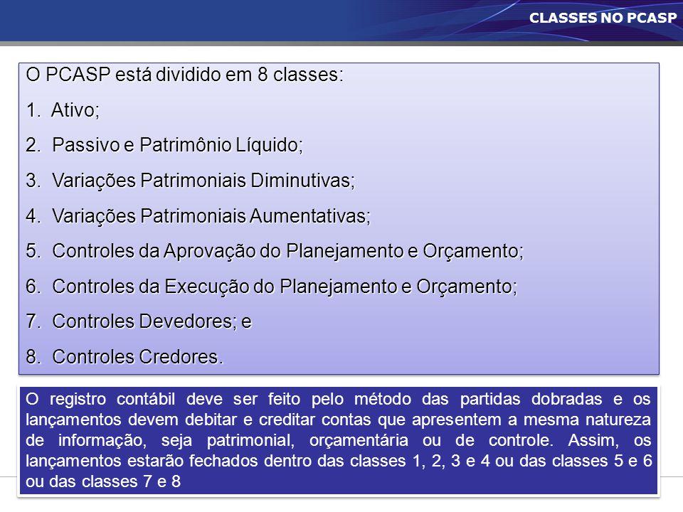 O PCASP está dividido em 8 classes: 1. Ativo;