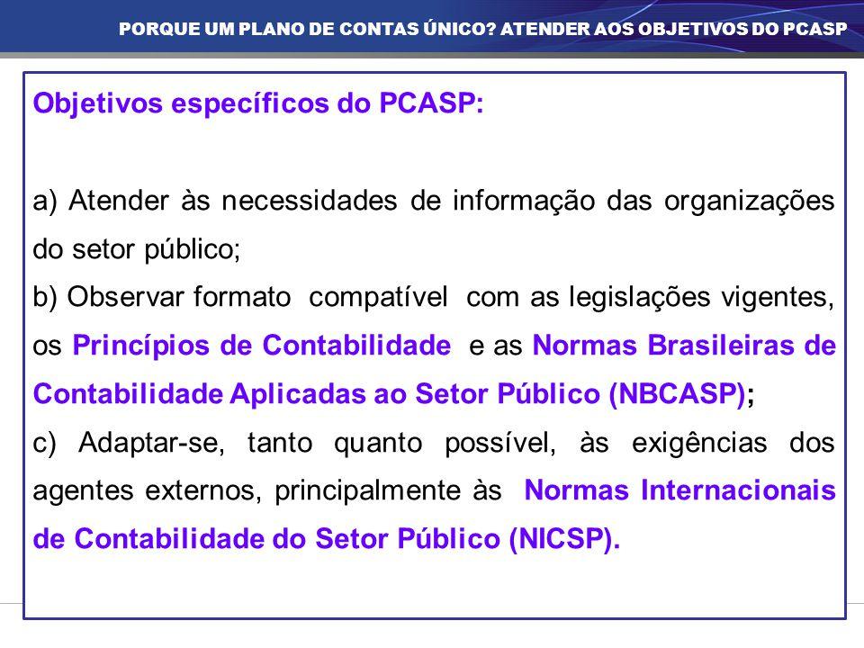 Objetivos específicos do PCASP: