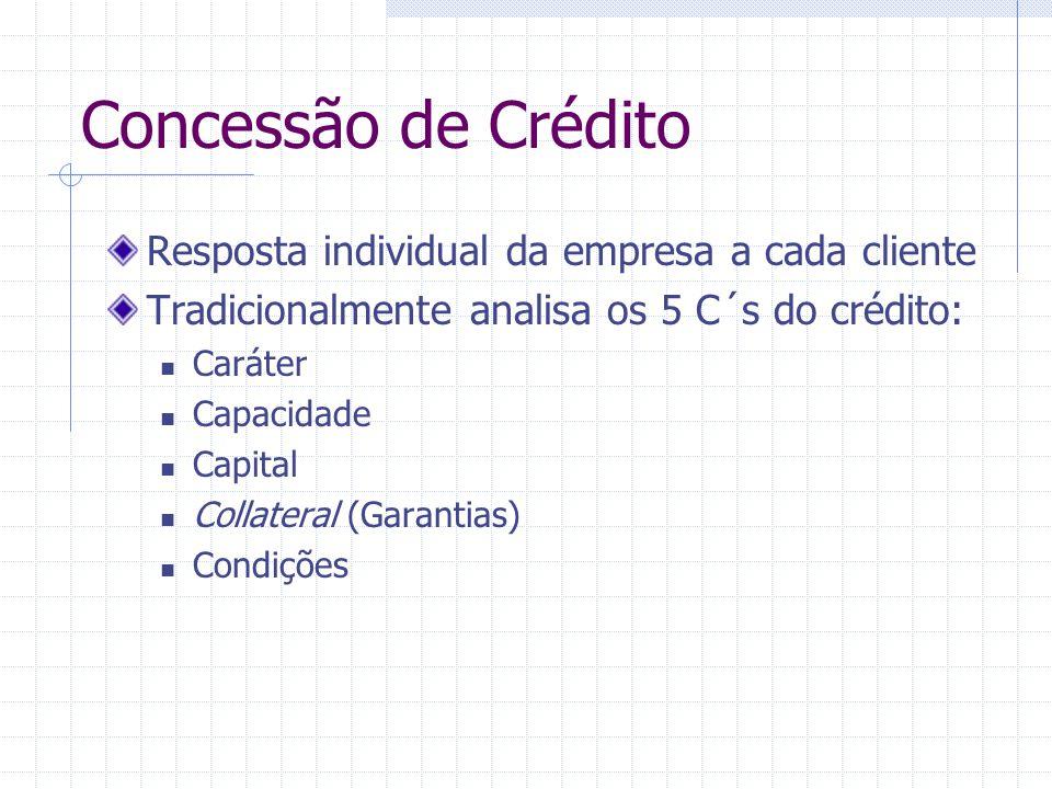 Concessão de Crédito Resposta individual da empresa a cada cliente