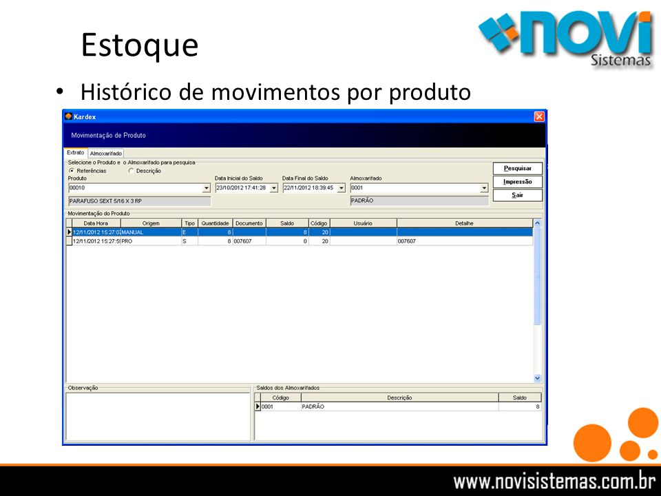 Estoque Histórico de movimentos por produto