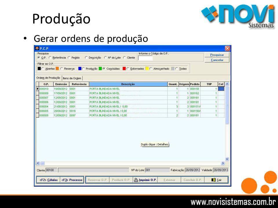 Produção Gerar ordens de produção