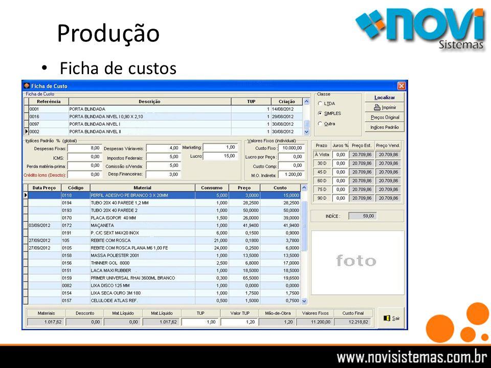 Produção Ficha de custos