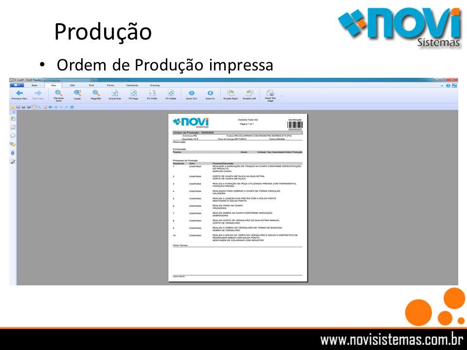 Produção Ordem de Produção impressa
