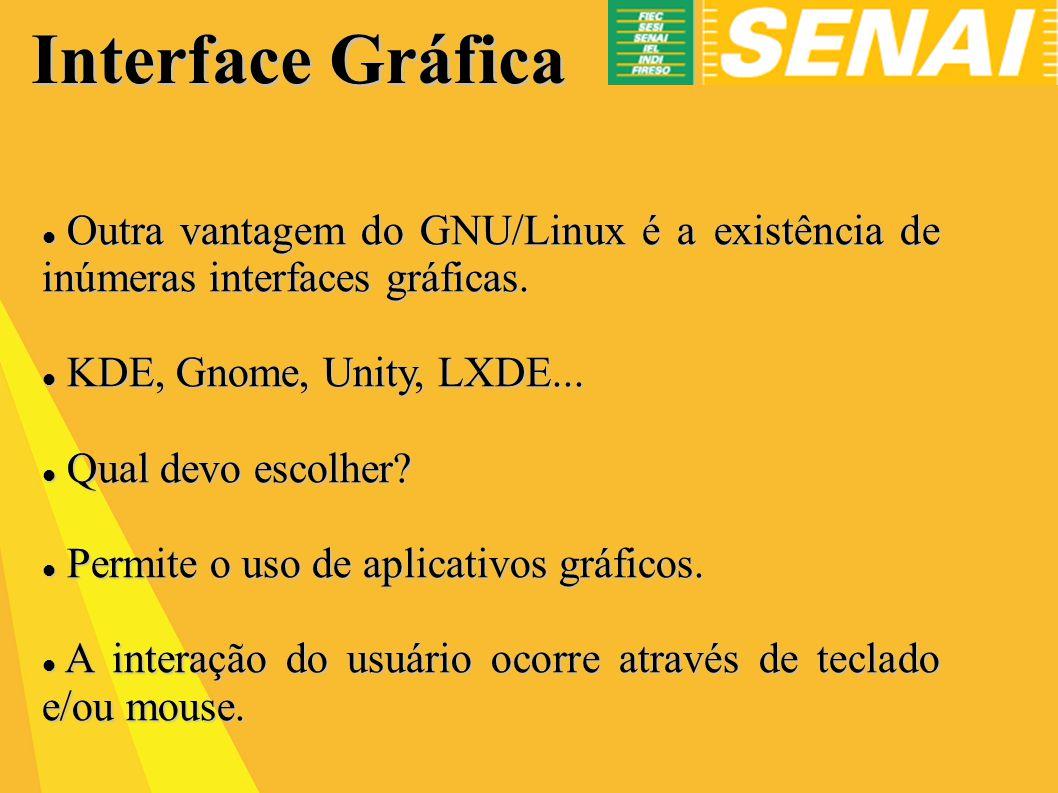 Interface Gráfica Outra vantagem do GNU/Linux é a existência de inúmeras interfaces gráficas. KDE, Gnome, Unity, LXDE...