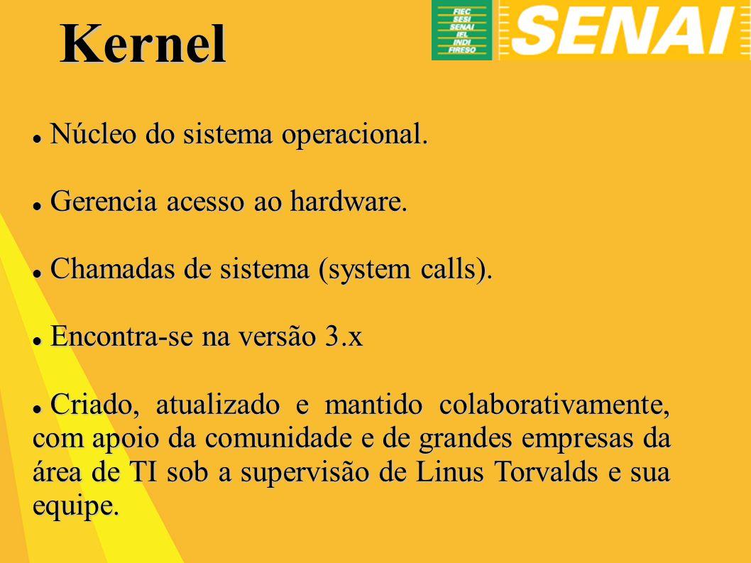 Kernel Núcleo do sistema operacional. Gerencia acesso ao hardware.