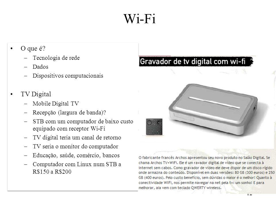 Wi-Fi O que é TV Digital Tecnologia de rede Dados