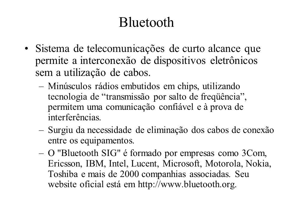 Bluetooth Sistema de telecomunicações de curto alcance que permite a interconexão de dispositivos eletrônicos sem a utilização de cabos.