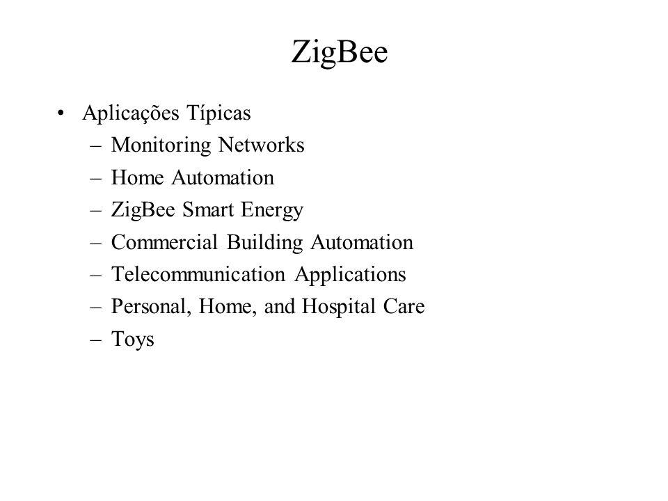 ZigBee Aplicações Típicas Monitoring Networks Home Automation