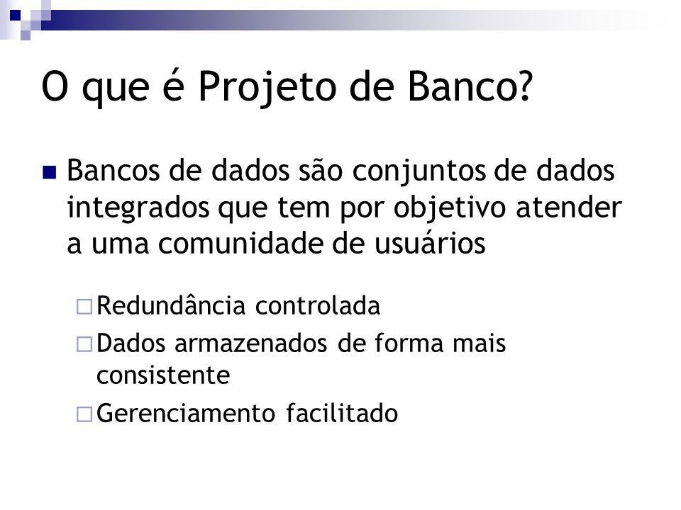 O que é Projeto de Banco Bancos de dados são conjuntos de dados integrados que tem por objetivo atender a uma comunidade de usuários.